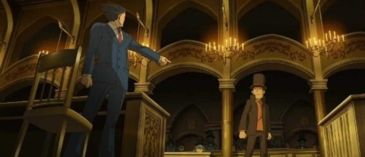 Европейский бокс-арт Professor Layton vs. Phoenix Wright: Ace Attorney